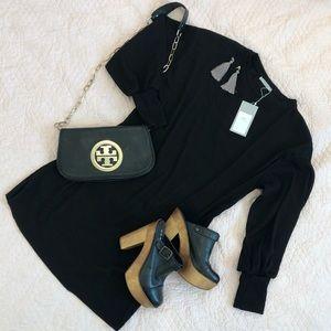 ZARA NWT Black Dress with Puffy 80's Vibe Sleeves